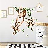 R00358 Pegatina Vinilo Pared Suave Efecto Tejido Decoración Niño Bebé Habitación Infantil Guardería Papel Pintado Autoadhesivo Monos