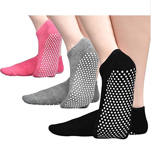 Hycles, 3 paia di calzini da donna a ballerina corti, da yoga, da donna, spessi, antiscivolo, 36-41, per inverno, 01 nero + grigio + rosa, 35-41