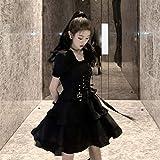 Yunbai Vestidos de Lolita Vestido de Lolita gótico Vestido Encantador Collar Cuadrado Estilo japonés loli Ropa Disfraces de Halloween para Mujeres Vestido Negro Delgado