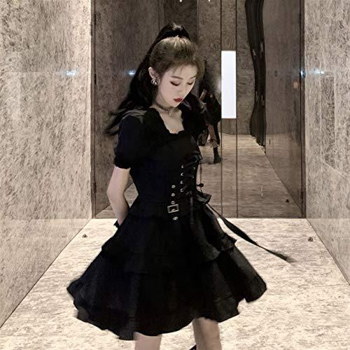 Yunbai Lolita Abiti Gothic Lolita Dress Abito Abito Abito Quadrato Stile Giapponese Loli Vestiti Costumi di Halloween per Le Donne Dress Black Slim (Color : Black Dress, Size : Small)