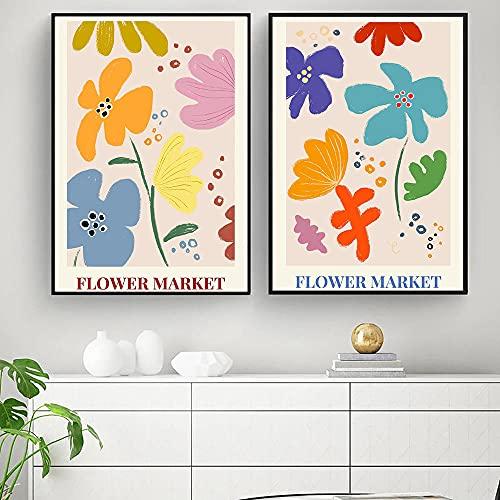 Stockholms blomstermarknad Affischer Frukter Blommor Illustration Kanvasvägg Konst mode Måleri och tryck modern heminredning Bilder 40x60cmx2 utan ram