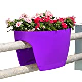 Greenbo XL Deck Rail Planter Box with Drainage trays, 24-Inch, Color Purple - Set of 6.