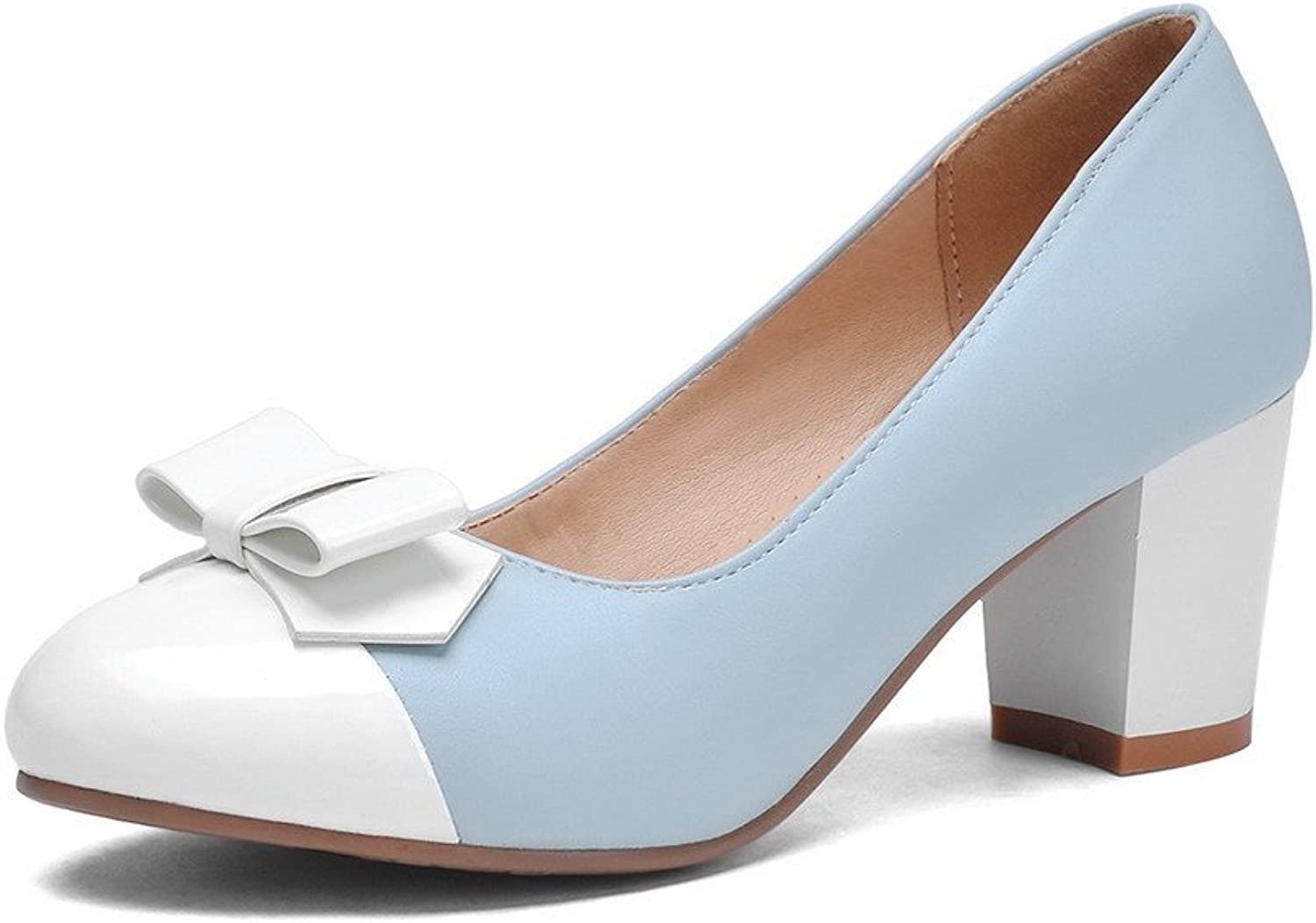 AmoonyFashion Women's Round Closed Toe Kitten Heels Assorted color Pull On Pumps-shoes