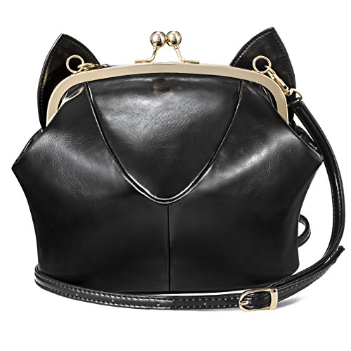 JHVYF Women Vegan Casual Crossbody Bag Purse Small Cute Cat Ear Sling Shoulder Bags Wallet Black