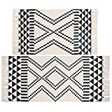 Pauwer Cotton Area Rug Set 2 Piece Machine Washable Printed Cotton Rugs with Tassel Hand Woven Cotton Rug Runner for Kitchen, Living Room, Bedroom, Laundry Room, Entryway ( Mosaic)