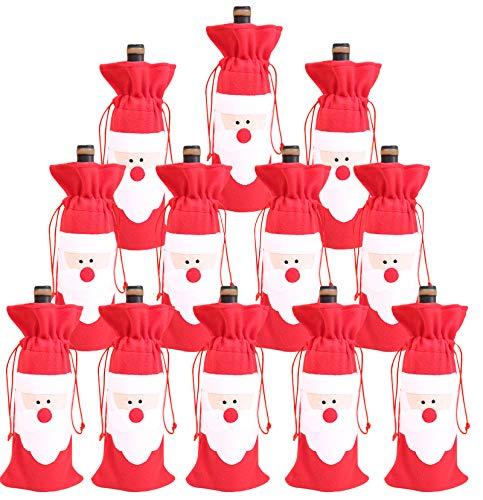 Sacchetti per bottiglie di vino di Natale con chiusura a cordoncino, per decorazioni da tavola e feste di Natale, confezione da 12