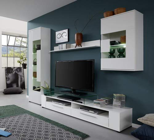 trendteam Wohnzimmer Anbauwand Wohnwand Wohnzimmerschrank Jump, 265 x 182 x 39 cm in Korpus Weiß, Front Weiß Glanz mit viel Stauraum und Ablagefläche