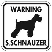 WARNING S. SCHNAUZER マグネットサイン:スタンダードシュナウザー(ホワイト)Mサイズ