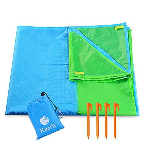 Kimfly Picknickdecke 170 x 140 cm, Stranddecke wasserdichte, Sandabweisende Campingdecke 4 Befestigung Ecken, Ultraleicht kompakt Wasserdicht und sandabweisend (Blau)