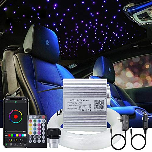 Upgraded AKEPO Car Home APP Fiber Optic Lights kit 10W RGBW Twinkle + Music Effect Star Ceiling Sky Light, Optical Fiber Cable 450 Strands 0.03in/0.75mm 9.8ft/3m+ 28key RF Remote Control