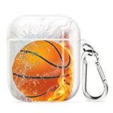 POKABOO AirPods Case, Clear Soft TPU Protective Cover Case for AirPods 2 & 1 (Front LED Visible) Wireless Charging Case Headphone Case with Keychain (Basketball)