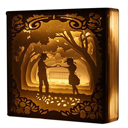 Outgeek Papercut Light Boxes, 3D Shadow Box Creative Romantique LED Night Light Lampe De Chevet