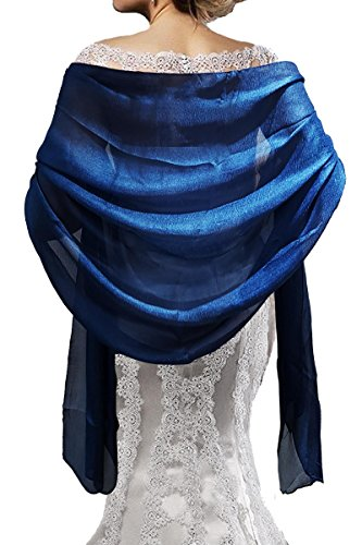Mirror Fashion Women Ladies Lovely Colours Silky Long Soft Shawl Wrap Stole L74' For Evening Dress Bridesmaids Wedding Prom (Royal Navy)