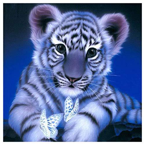 ParNarZar DIY 5D Diamant Painting Bilder Voll Set - Kleiner Tiger mit Schmetterling - Handgemachte Kreuzstich Diamant Mosaik Stickerei - 35X35 cm