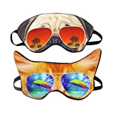 (Pack of 2) 3D Cat Dog Animal Sleep Eye Mask Night Shades for Sleeping Travel Home Office Funny Blindfold for Girls Kids Men Women