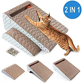 PrimePets Cat Scratcher Cardboard, Removable Cat Scratching Pad with Ball, 2-in-1 Corrugated Cat Scratch Lounge Sofa Refill(Catnip Included)