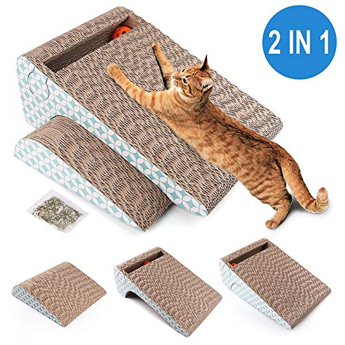 PrimePets Cat Scratcher Cardboard Removable Cat Scratching Pad with Ball 2in1 Corrugated Cat Scratch Lounge Sofa RefillCatnip Included