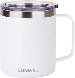 SUNWILL 14 oz Coffee Mug, Vacuum Insulated Camping Mug with Lid, Double Wall Stainless Steel Travel Tumbler Cup, Coffee Thermos Outdoor, Powder Coated White