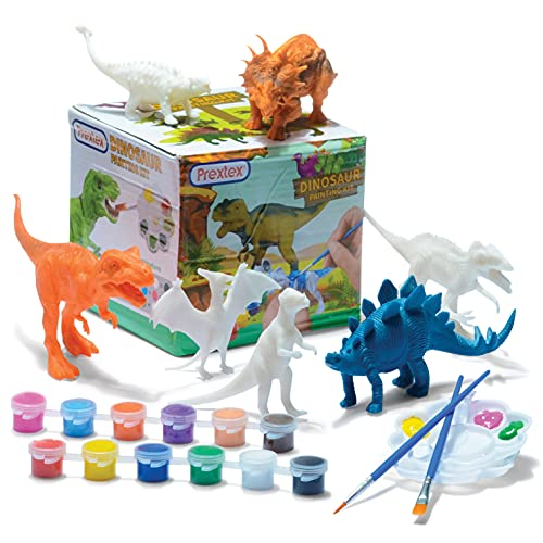 Prextex Dinosaur Painting Kit for Kids - Decorate Your Own Dinosaur Figurines 13-Piece Arts and Craft Activity Set for Boys and Girls Dinosaur Toys