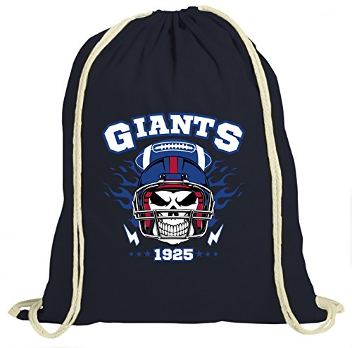 Shirt Happenz Giants Skull Premium Turnbeutel   American Football   Totenkopf   Football-Helm   Unisex   Gymbag, Farbe:Navyblau (Gymbeutel);Größe:37cm x 46 cm