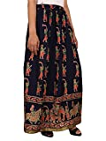 Navy BlueRayon Staple Gold Printed Straight Skirt for women (free Size) Waistband: Elastic