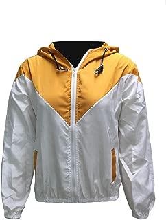 MogogoWomen Hit Color Zipper Windproof Hood Plus Size Tops Outwear