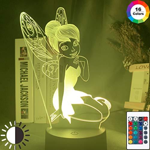 Led Night Light Fée Clochette Décoration Couleur Table À Langer Lampe Princesse Tinkerbell Petite Amie Cadeau (Color : 7 colors no remote)