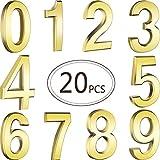 20 Pièces 2,75 Pouces Numéros de Maison de Porte Auto-Adhésives Numéros de Boîte aux Lettres Numéros d'Adresse pour Signes de Boîte aux Lettres, 0 à 9 (Or)