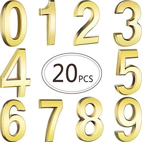 20 Stücke 2,75 Zoll Selbstklebende Hausnummern Tür Mailbox Nummern Straßen Aadress Nummern für Postfachschilder, 0 bis 9 (Gold)