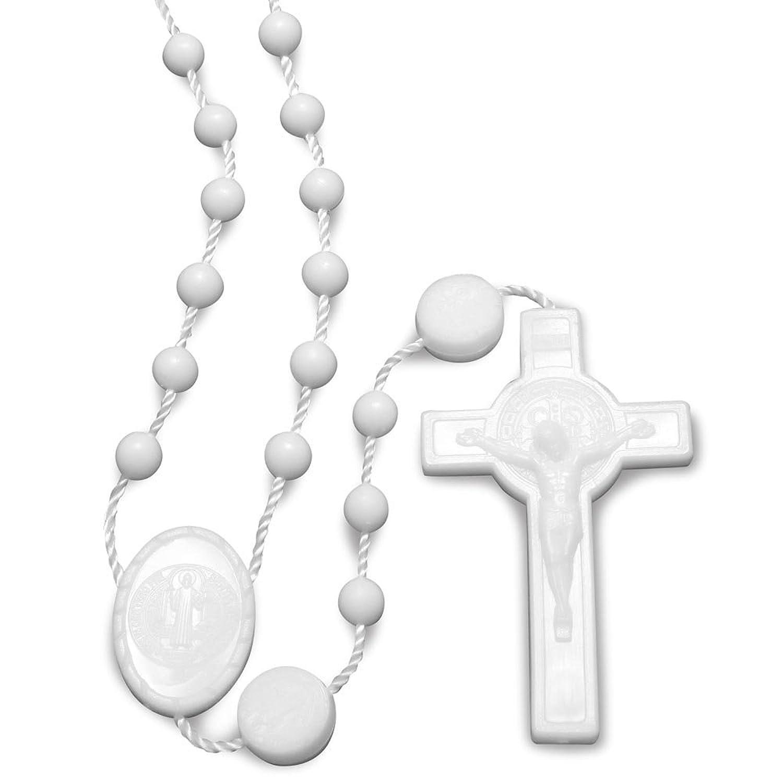 St. Benedict White Plastic Beads Rosary - 100 Pack