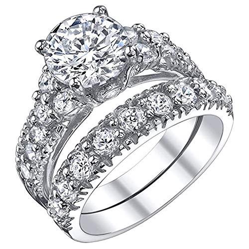 Janly Clearance Sale Anillo de compromiso para mujer, anillo de compromiso de lujo, anillo de compromiso de cobre, tamaño 6-10, conjuntos de joyas, día de San Valentín (8)