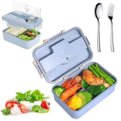 Sunshine smile Caja de Bento con 3 Compartimentos,microondas y lavavajillas Lunch Box,Bento Box para Niños,Fambrera Infantil,Caja de Almuerzo de Plástico,Fiambreras Bento(púrpura)