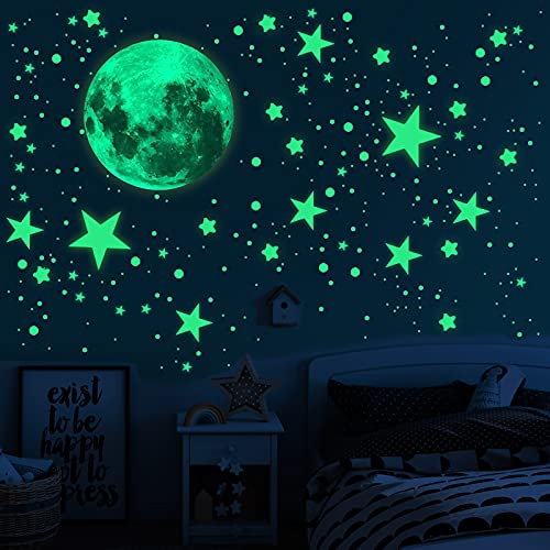 Glow in The Dark Stars for Ceiling, 893PCS Wall Stickers Inculding Moon and Stars Decor, Glow in The Dark Wall Decals for Kids Room