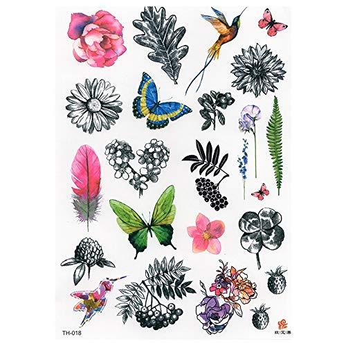 Bunte Blumen Fake Tattoo Wasserdicht Temporäre Frische Tatoo Aufkleber Für Frauen Männer Body Art Tattoos