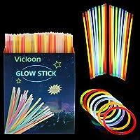 Vicloon Barras Luminosas, Pulseras Luminosas con Conectores, Kits para Crear Pulseras y Collares, Carnaval Festividad...
