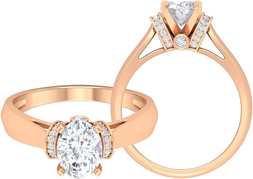 1.58 CT D-VSSI Moissanite Solitaire Ring with Accents, Gold Engagement Ring (8X6 MM Oval Cut Moissanite), 14K Gold