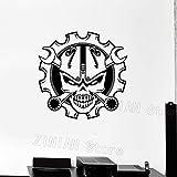 zqyjhkou Crâne Clé Garage Décoration Stickers Muraux Idée Voiture Pilote Murale Garçons Chambre Sticker Mural Moderne Creative Homme Cave Décor79x77cm