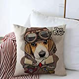 Throw Pillows Cover 16 x 16 Inch Brown Dog Beagle Aviator Helmet Leather Jacket Animals Wildlife Beauty Cool Funny Fly Goggles Hat Air Cushion Case Cotton Linen for Fall Home Decor