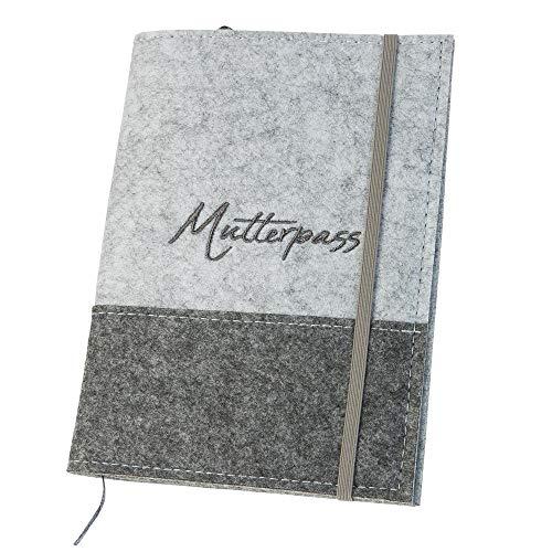Mutterpasshülle '2Tone' aus Filz, hellgrau/grau (Farbe wählbar) | Bestickte Hülle für Mutterpass mit Gummiband, vielen Fächern und Lesezeichen