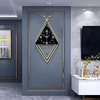 壁掛け 時計,クォーツ時計,鹿の装飾デザイン,電池式 静かな サイレント 振り子時計-A 39x75cm(15x30inch)