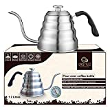 Gooseneck Tea Kettle Stovetop (1.2L- 40fl oz) with Thermometer for Pour Over Coffee Brewing - 304 Stainless Steel-Tripple Layer Induction Base Chemex Kettle - Swan Necked Teakettles-Thin Spout Pouring