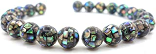 Justinstones 10mm Natural Abalone Shell Handmade Mosaic Round Loose Beads Pack Of 10