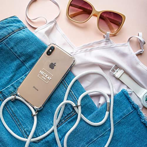 Neckay Handykette kompatibel mit iPhone - Handyhülle fürs Smartphone zum Umhängen mit abnehmbarem Band - Handy Case Hülle mit Kordel - Schutzhülle mit Schnur (iPhone X/XS, White)