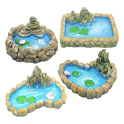 YU-HELLO 4 Stücke Steingarten Miniatur Teich Ornamente Kit Für Wohnzimmer Dekorative Ornamente Miniatur Garten Zubehör Home Micro Landschaft Fenster Dekorative Ornamente 2.2x1.57in