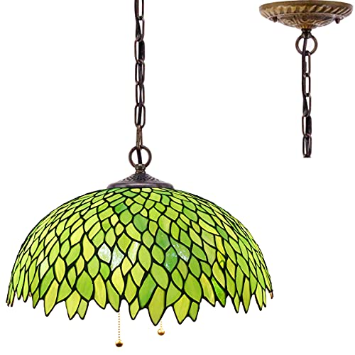 Tiffany Pendant Lighting for Kitchen Island Large Fixture Industrial Rustic LED Chandelier Swag Farmhouse 16' Green Stained Glass Wisteria Shade Boho Hanging Lamp Bedroom Living Dining Room WERFACTORY