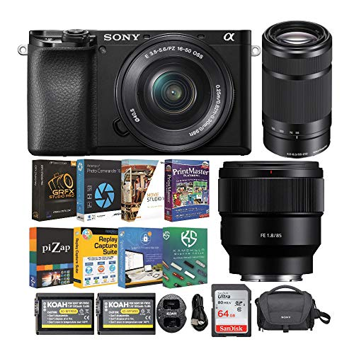 %6 OFF! Sony Alpha a6100 APS-C Mirrorless Interchangeable-Lens Camera with 16-50mm, 55-210mm and FE ...
