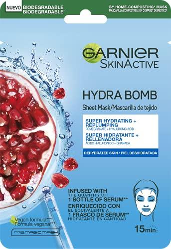 Garnier Tissu Mask Energizante SkinActive con Ácido Hialurónico y Granada Antioxidante para pieles deshidratadas - 32 g