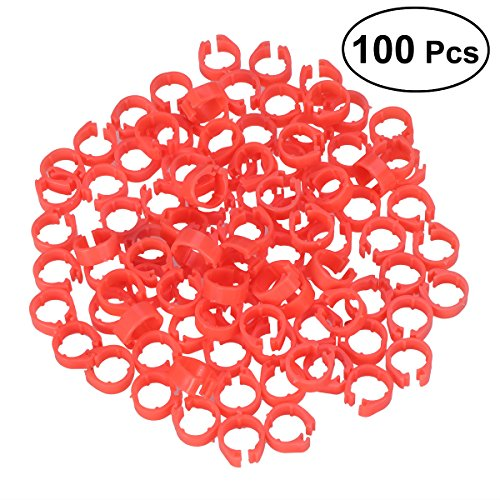 UEETEK Bandas de pierna de aves pájaro Paloma anillos de pato clip (Naranja) - 100 Piezas