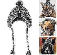 防風帽子犬の帽子冬の暖かいニットペットの犬の帽子クリスマスの服面白い猫の犬の服アクセサリーペットのドレスアップ (M)