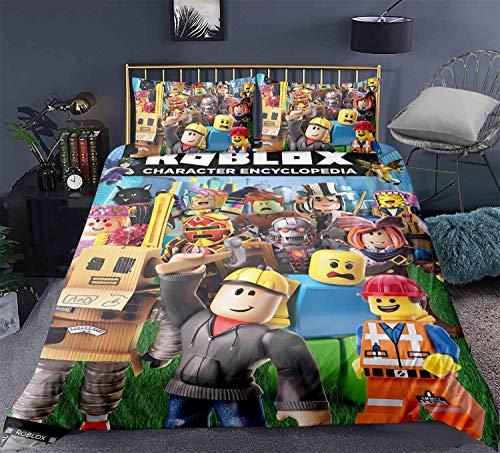 Funda nórdica para niños Roblox 3D HD Juego de ropa de cama para jóvenes Roblox (incluidas fundas de almohada a juego) ropa de cama con temática de juego de Roblox súper suave y cómoda (A3,220x240cm)
